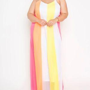 Buxom Curvy Color Block Maxi Dress